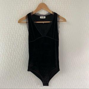 NWT Molly Bracken Black Velour Eyelash Lace Trim Bodysuit